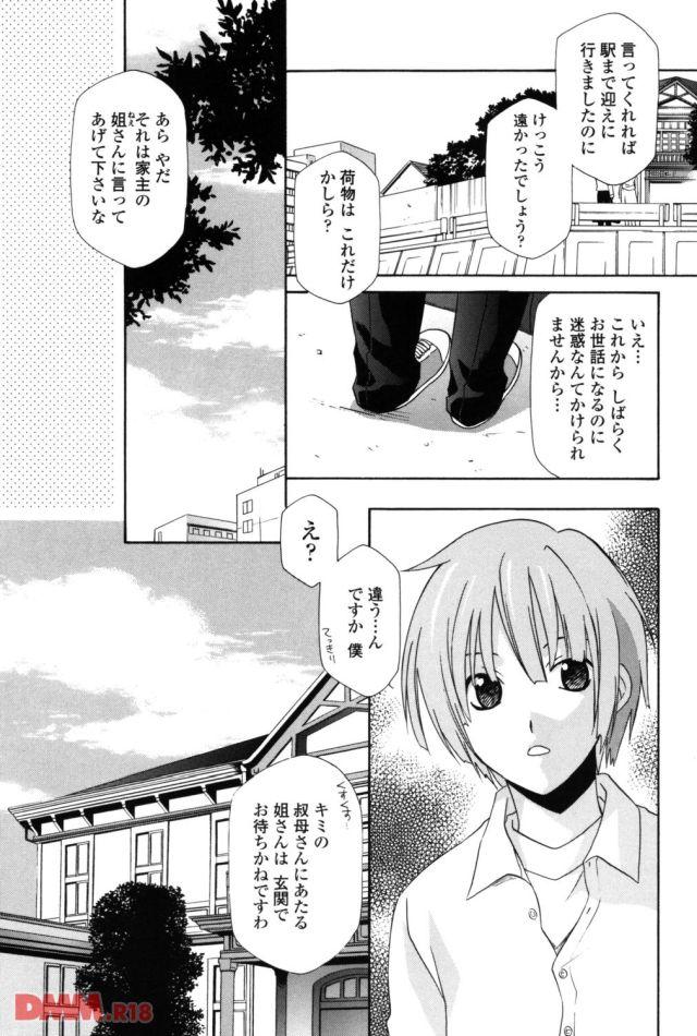茶髪で顔が整っている学生服を着用した男の子が叔母の家を訪ねている。ドアの前で挨拶をしている男の子